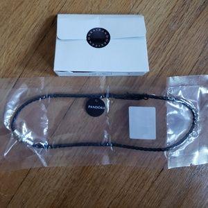 Pandora Navy Leather Double Bracelet